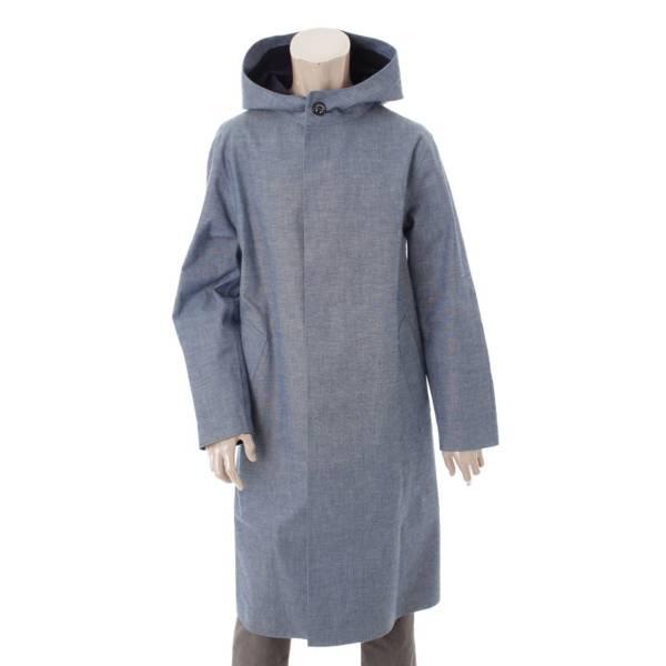 HYKE ハイクコラボ メンズ デニム ゴム引き フーデッドコート ブルー 2
