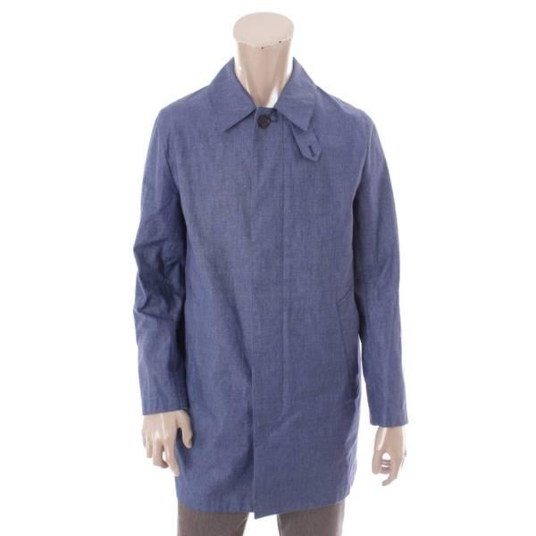 リネン 比翼 コート ブルー 36