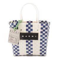 18SS マルニマーケット ショッピング ハンドバッグ ブルー×ホワイト