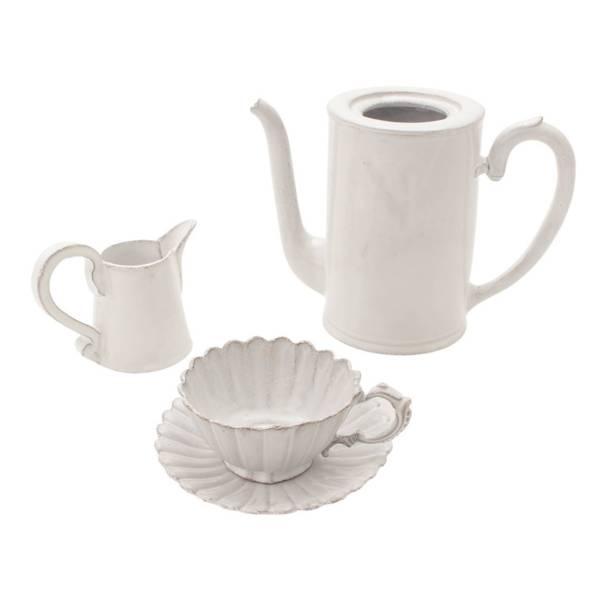 ティータイムセット ティーポット ミルクポット カップソーサー 食器 ホワイト