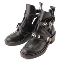 レザー サンチュール アンクル ベルト ブーツ ブラック 37