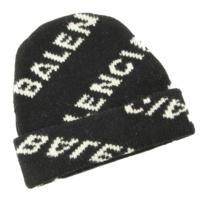 ジャカード ロゴ ビーニー ニット帽 帽子 ブラック