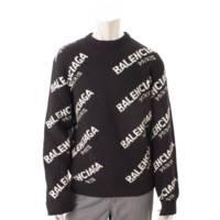 メンズ ジャガードロゴ ニット セーター 507287 ブラック S