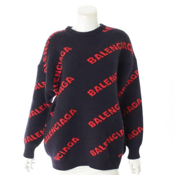 18SS ジャガード ロゴ ニット セーター 555279 ネイビー×レッド XS