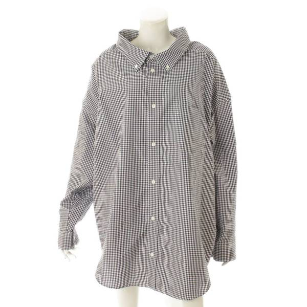 オーバーサイズ チェック ロゴ 長袖 シャツ 622050 ブラック×ホワイト  34