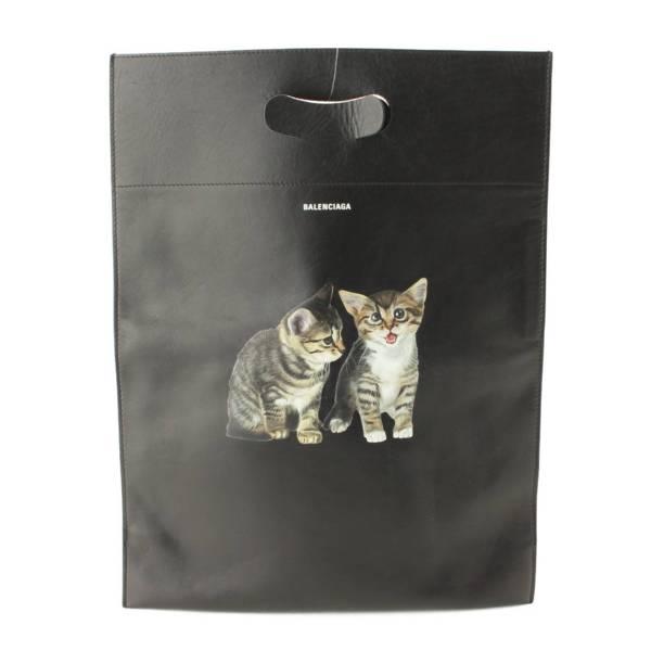 猫プリント レザートートバッグ クラッチバッグ 544310 ブラック