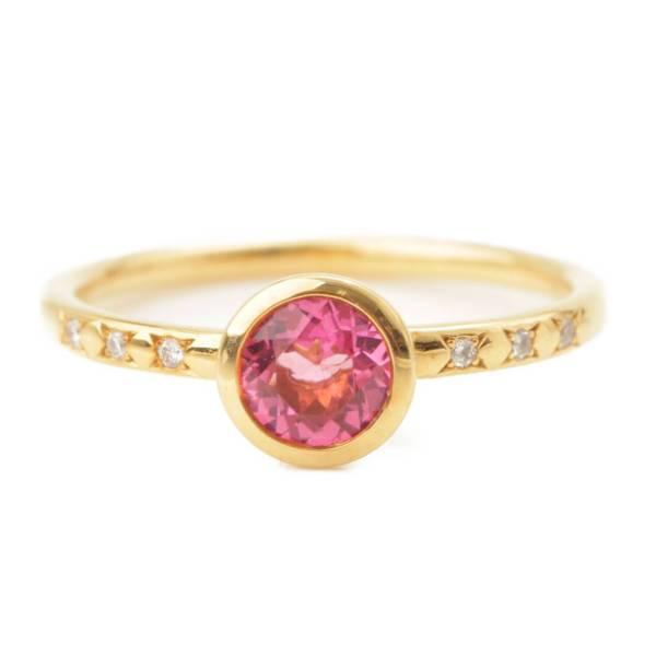 ピンクトルマリン ダイヤモンド リング 指輪 K18YG イエローゴールド 10.5号