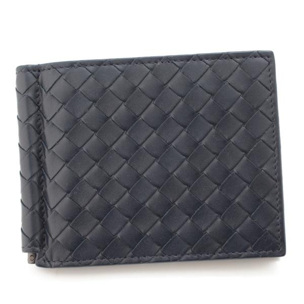 イントレチャート レザー 二つ折り財布 マネークリップ ダークネイビー