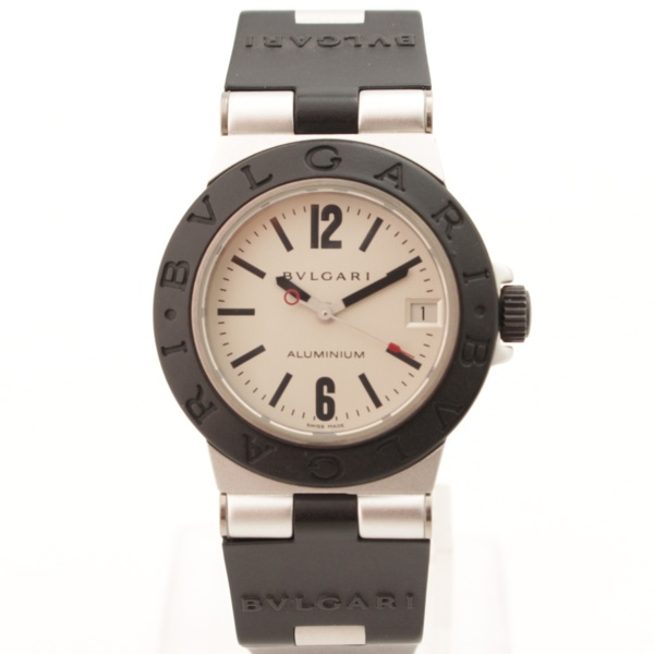 アルミニウム デイト クオーツ 腕時計 ブラック×シルバー