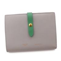 マルチファンクション ミディアム レザー 二つ折り財布 104813 グレー×グリーン