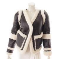 2way ムートン レザー リバーシブル ジャケット ブラック×ホワイト 34
