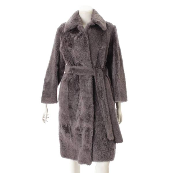 フィービー 毛皮 ファー ベルト コート グレー 34