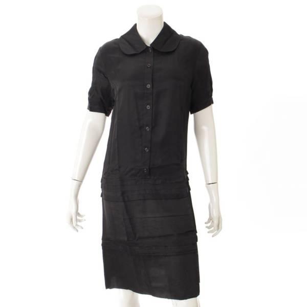 半袖 ボタン ワンピース ドレス ブラック 36