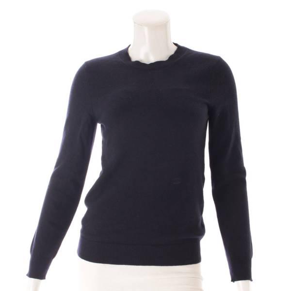 カシミヤ トリオンフ 刺繍 ニット セーター ネイビー S