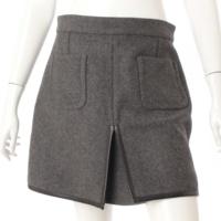 ウール パッチポケット スカート グレー 40