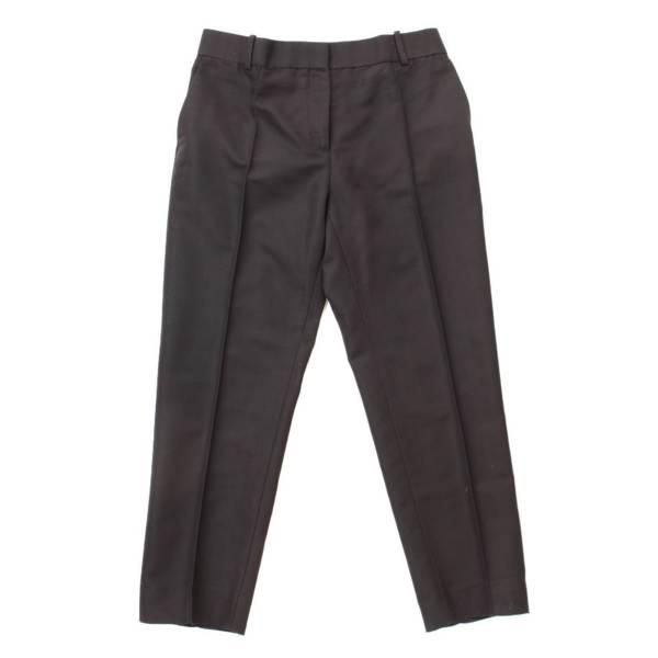 シルク混 スラックス パンツ ブラック 38