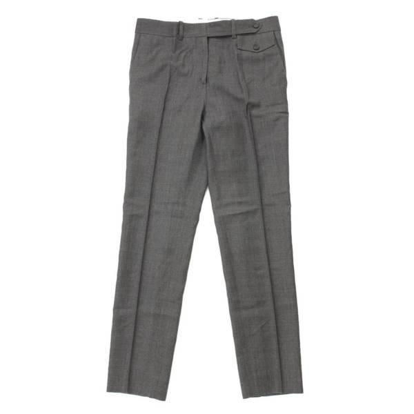 ピンタック クリースライン スラックス パンツ グレー 36