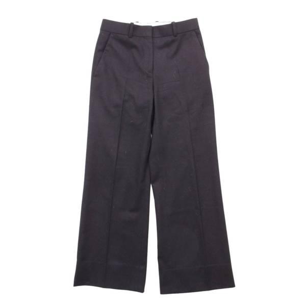 ウール センタープレス スラックス ワイドパンツ 21L65 ブラック 34