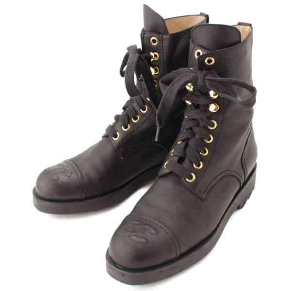 レザー ココマーク レースアップ ブーツ ブラック 37