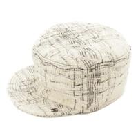 ラメ ツイード キャップ 帽子 オフホワイト M
