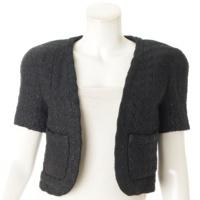ツイード 半袖 ショート丈 ジャケット ブラック
