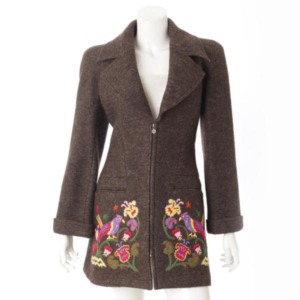 97A ウール 刺繍 ロングコート P09459 ブラウン 34