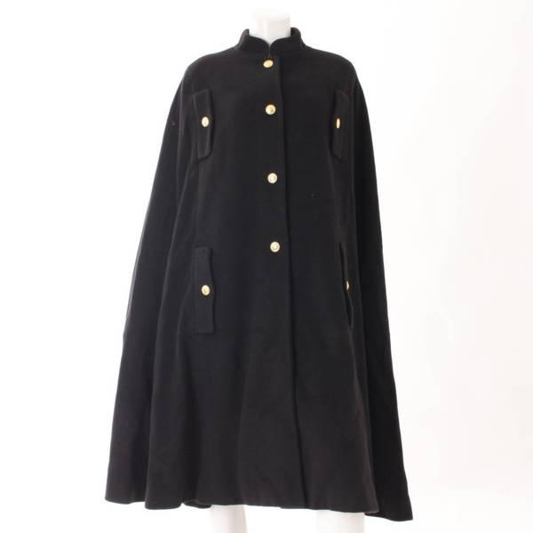ヴィンテージ 金ボタン ポンチョ コート ブラック 38