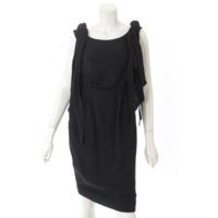 15C シルク ノースリーブ ワンピース ドレス P50600 ブラック 38