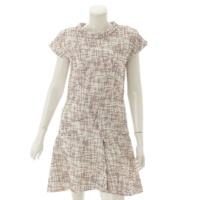15P シルク混 半袖 ツイード ドレス ワンピース P50967 ホワイト 38