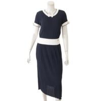 リボン ドレス ワンピース P47966 ネイビー× ホワイト 36
