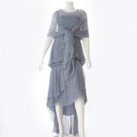 06A シルク ショール付 ワンピース ドレス P29329 ブルー 36