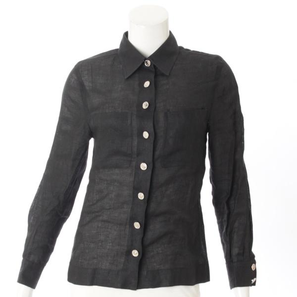 リネン シルバーボタン ブラウス シャツ ブラック