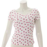 99S 総柄 半袖 フラワーモチーフ Tシャツ P13561 ホワイト×ピンク 38