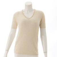 99P カシミヤ 半袖 ビーズ セーター P12571 ベージュ 40