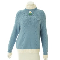 15A フラワー ニット セーター P52016 ブルー 38