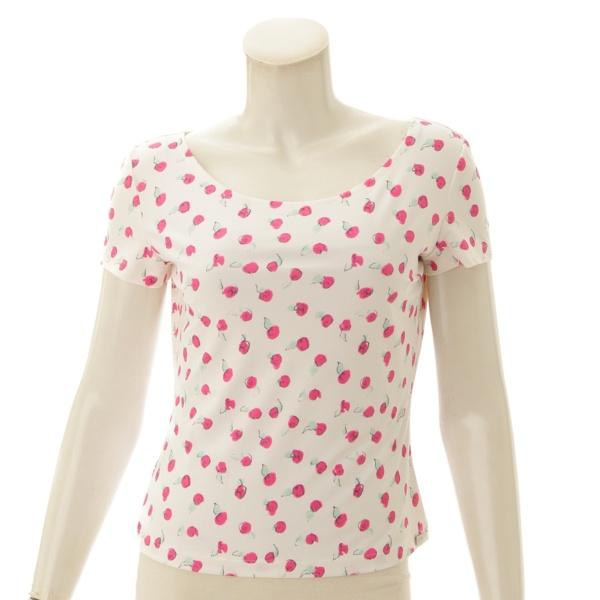 99S フラワー 花柄 トップス P13561 ホワイト×ピンク 40