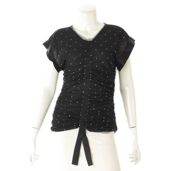 20SS La Pausa チュール ギャザー ワンピース Tシャツ P64269 ブラック 38