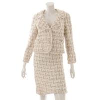 ココマーク フレンチカラー パールボタン セットアップ ジャケット スカート 05A ホワイト