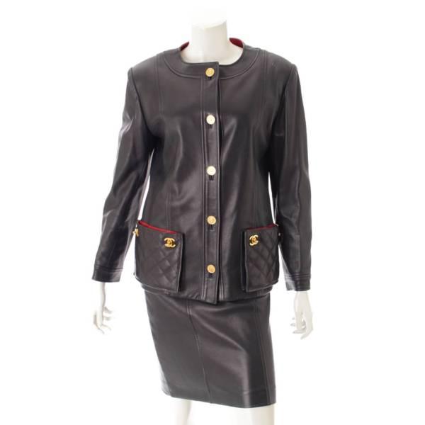 マトラッセ ターンロック コインボタン ラムレザー ジャケット スカート セットアップ 34