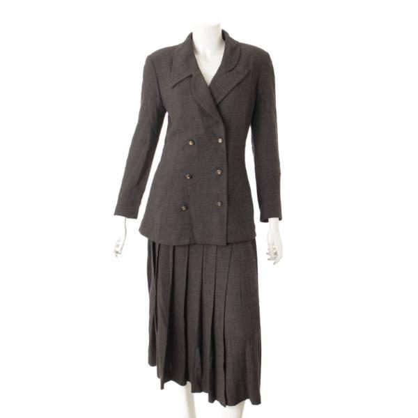 ウール シルク混 セットアップ スーツ プリーツスカート グレー 40