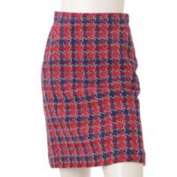 15S ココマーク シルク混 ツイード スカート レッド×ブルー 34