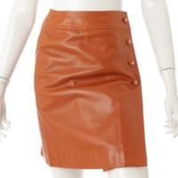 96A ココマーク シルク ラムスキン レザースカート P08816 キャメルブラウン 34