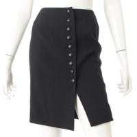 97C ウール ココマークボタン スカート P08849 ブラック 38