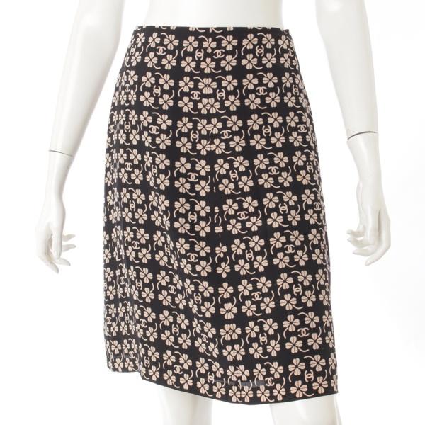 01P シルク 総柄 スカート P17356 ブラック×ベージュ 42