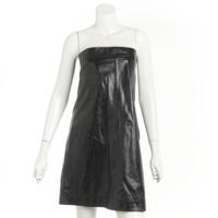 ラムレザー ベアトップ ドレス ワンピース P45982 ブラック 36