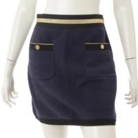 19C クルーズライン パイル スカート P60538 ネイビー×ゴールド 36