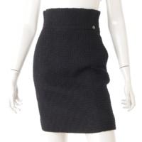 09A ライオンボタン ツイード スカート P36702 ブラック 36