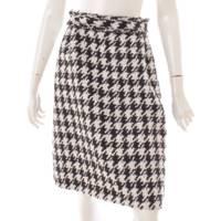 ツイード ココマーク 千鳥格子柄 スカート P54657 ブラック ホワイト 34