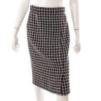 ブロックチェック ツイード スカート P56741 ブラック 38