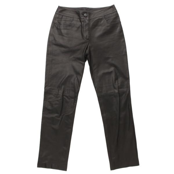03A カーフスキン レザー パンツ P21879 ブラック 34